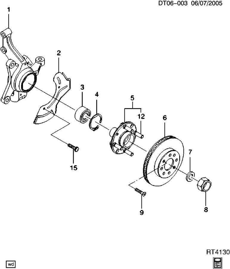 Chevrolet Aveo Hub. Front wheel. Front wheel inner. Hub