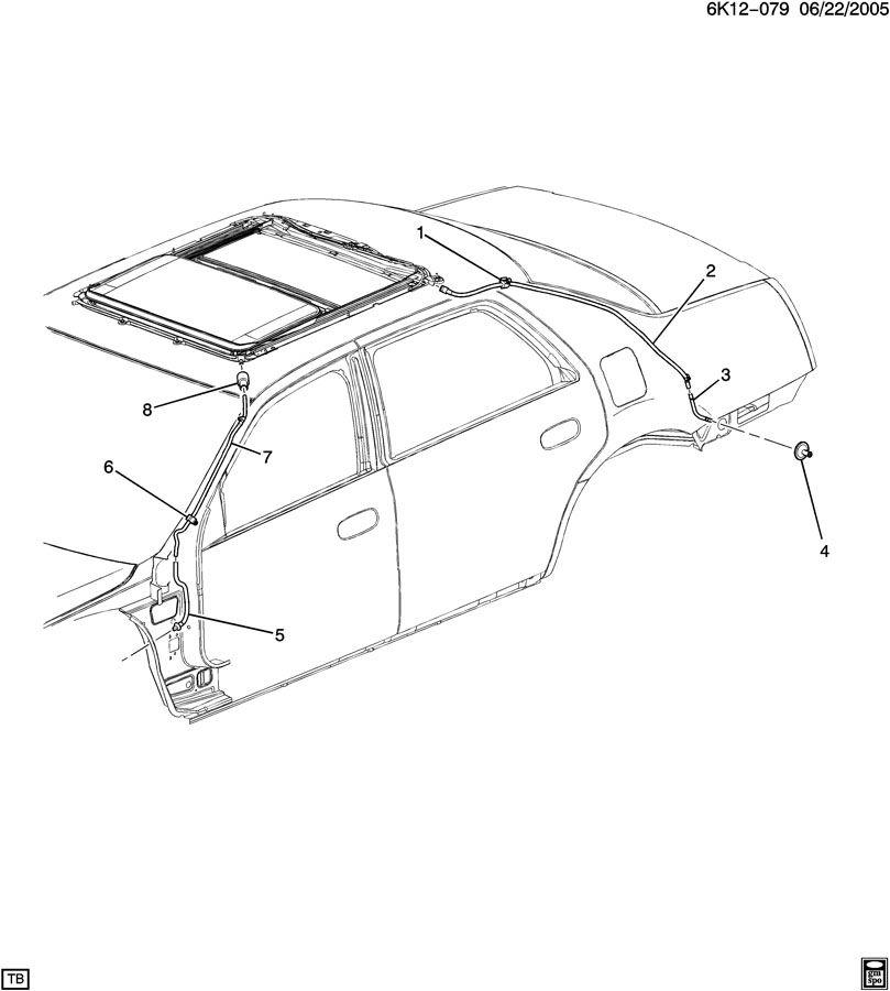 Cadillac DTS Hose. Sun roof frame. Hose, sun rf hsg frt