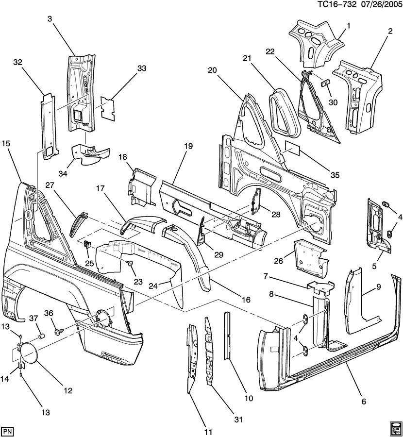 Chevrolet AVALANCHE Panel. Fuel door & body side. Panel