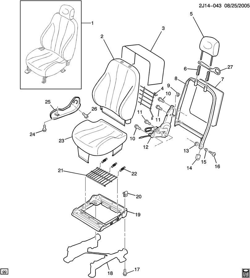 Chevrolet Cavalier Guide. Seat belt. Guide, p/seat shldr