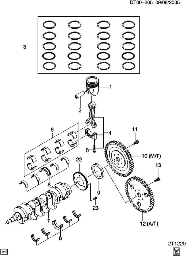 Chevrolet Aveo Flywheel kit. Engine crankshaft. Ring