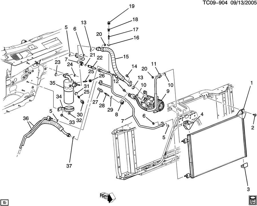 1999 Chevrolet Silverado Clip. Air conditioning (a/c) hose