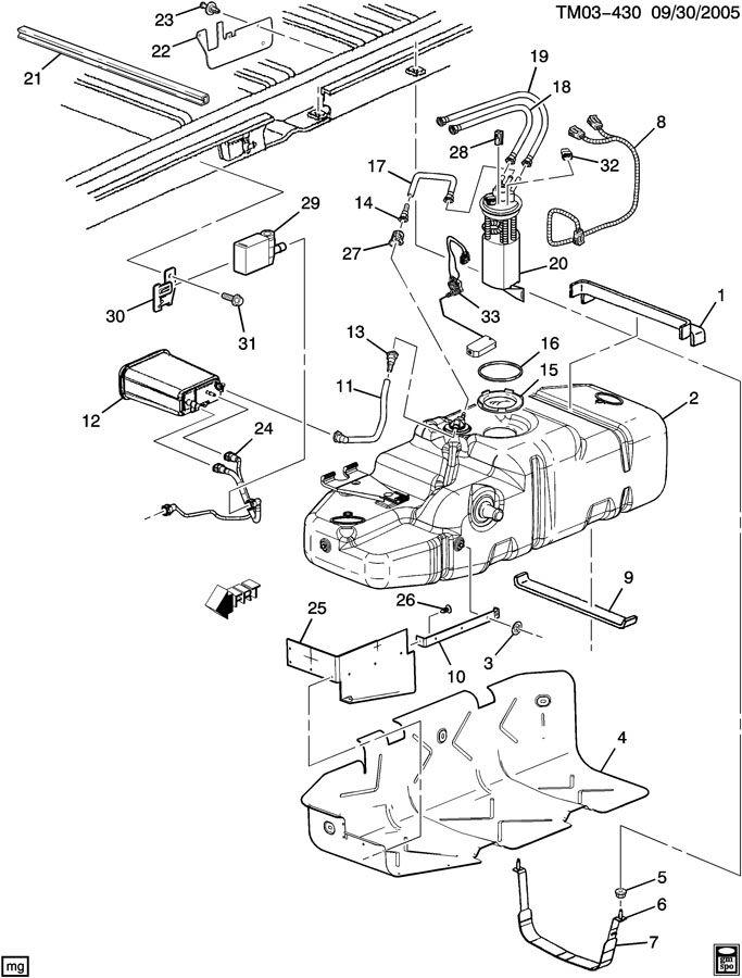 2004 Chevrolet ASTRO Canister. Fuel tank evaporator/purge