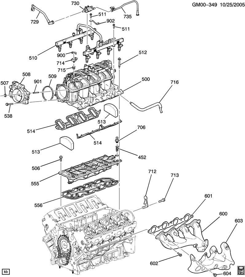 ENGINE ASM-5.3L V8 PART 5 MANIFOLD & FUEL RELATED PARTS