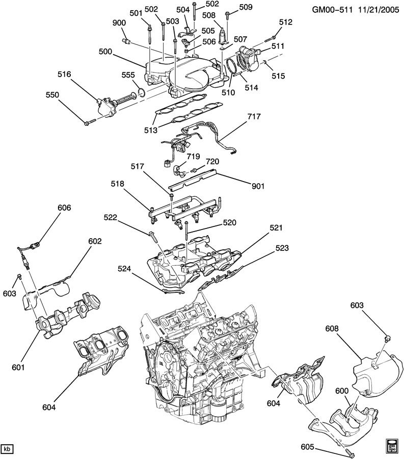 ENGINE ASM-3.9L V6 PART 5 MANIFOLDS & FUEL RELATED PARTS