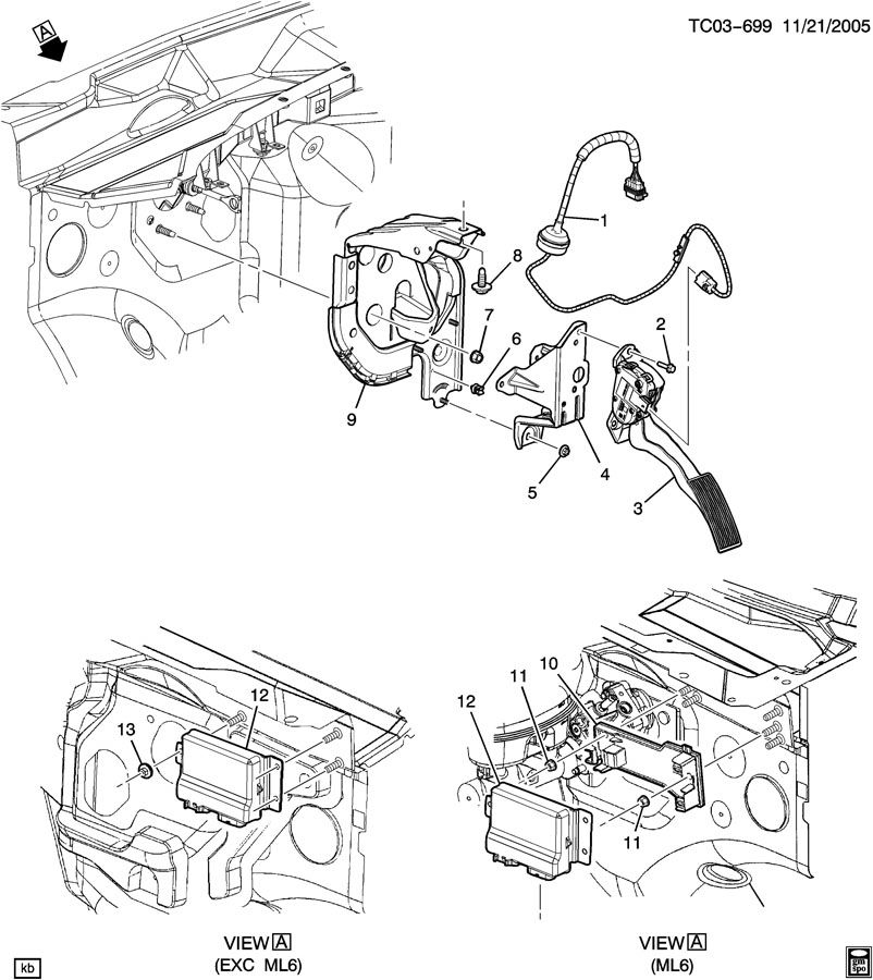 Chevrolet Silverado 2500 Retainer. Accelerator pedal