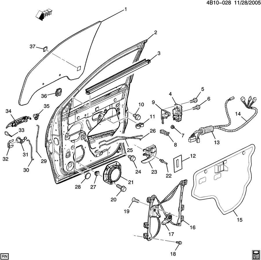 2003 Buick Rendezvous Clip. Front door window regulator