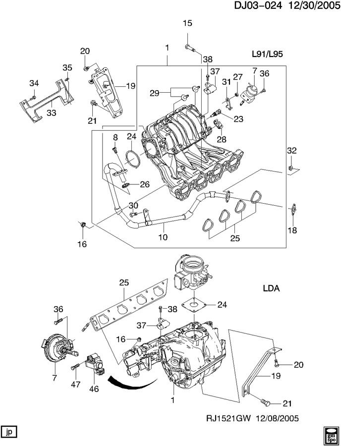 Chevrolet Aveo Seal. Multi port fuel injection throttle