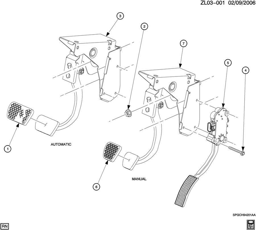Saturn Vue Pad. Brake/clutch pedal. Pad, clu ped. Pad, brk