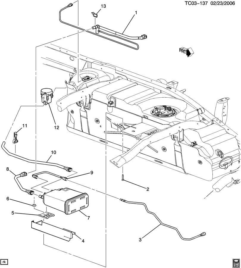 Chevrolet Silverado Hose. Fuel tank evaporator/purge