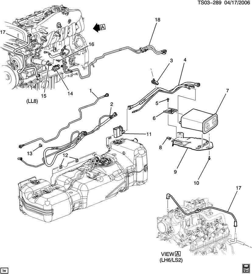 Chevrolet TRAILBLAZER ST155 VAPOR CANISTER LINES & CANISTER
