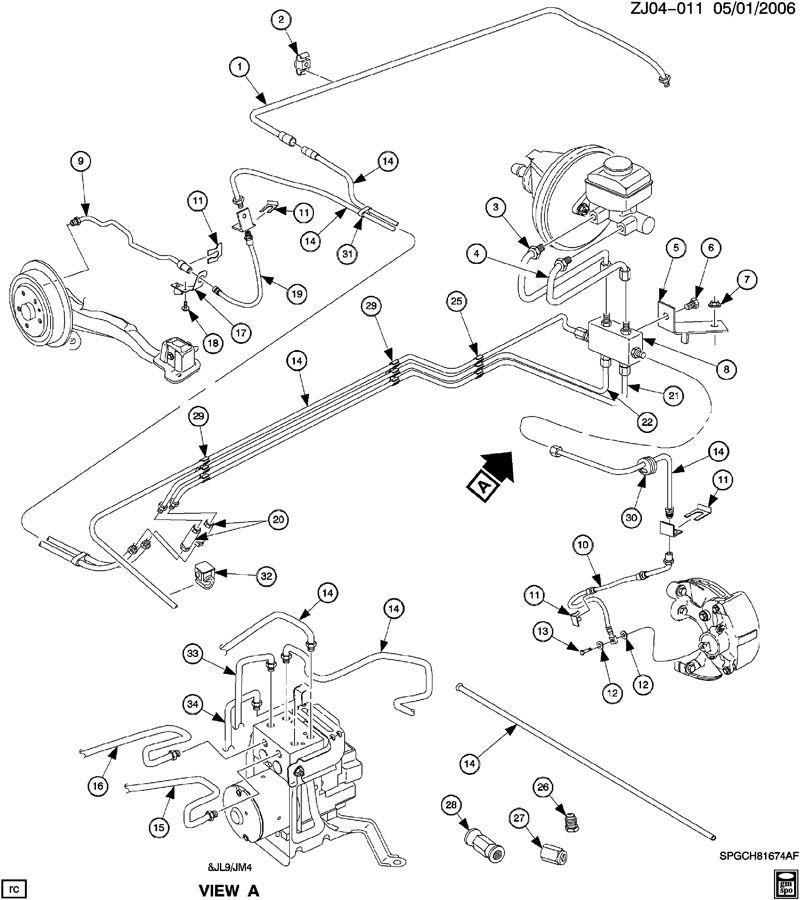 2002 Saturn L100 Pipe. Hydraulic brake. Pipe, brk press