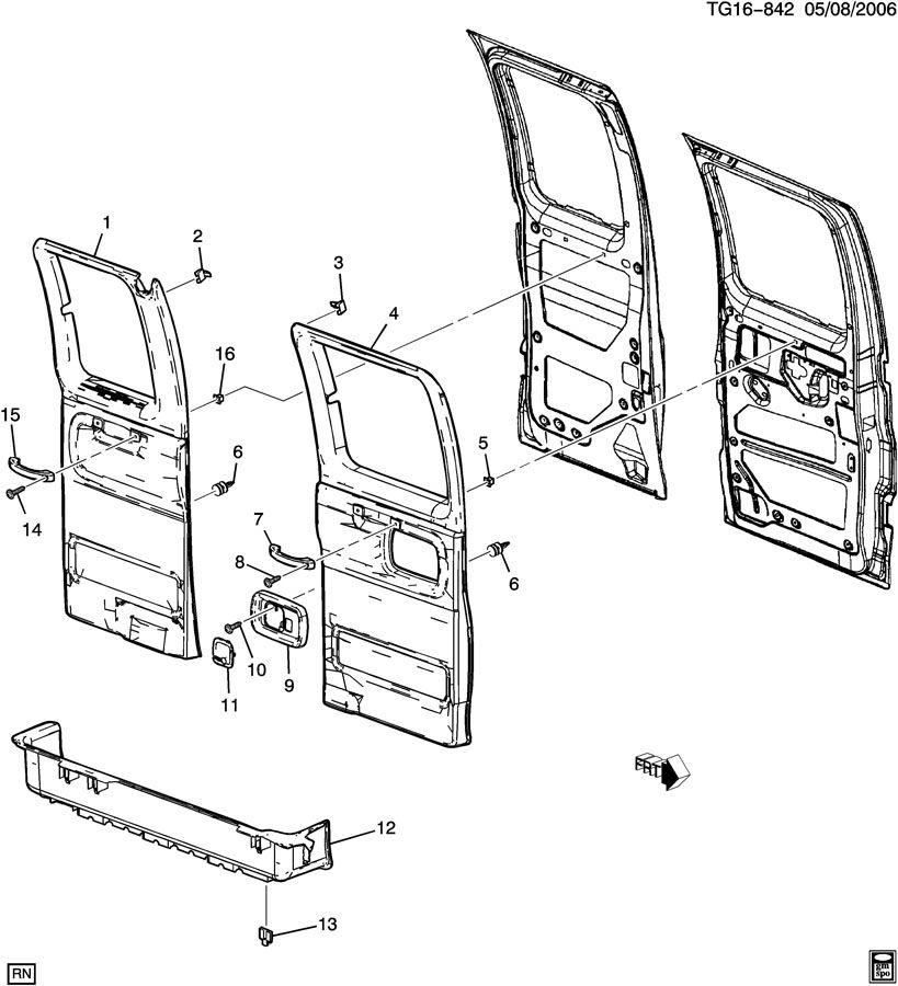 Chevrolet EXPRESS Mat. Door sill and rocker. Mat, rr s/d
