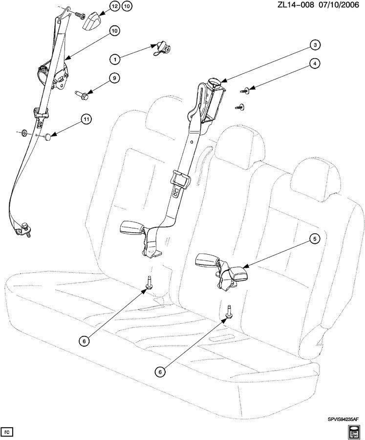 Saturn Vue Belt kit. Seat belt. Belt kit, r/seat (retr si