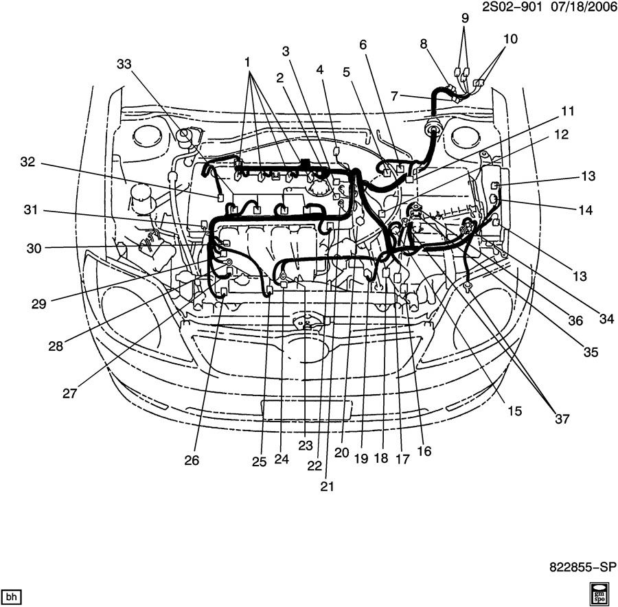 2000 Chevrolet WIRING HARNESS/ENGINE-CONNECTOR IDENTIFICATION