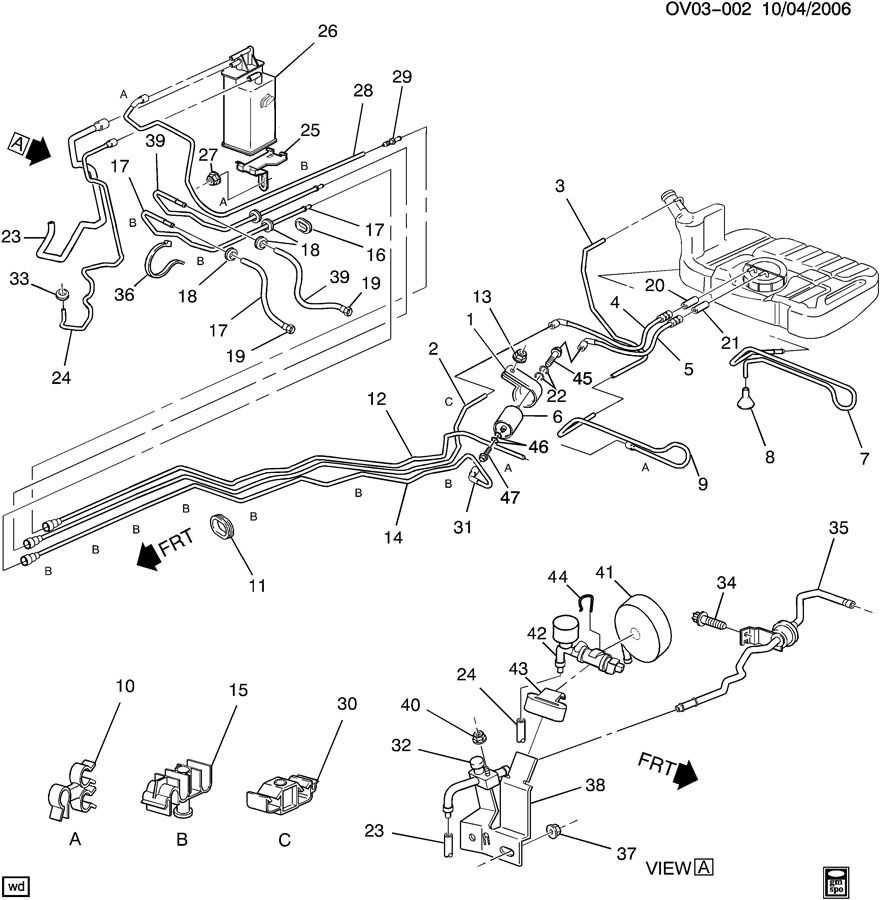 Cadillac Catera FUEL SUPPLY SYSTEM FUEL LINES