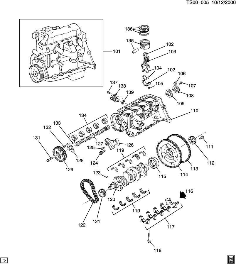 Chevrolet S10 Cover. Engine camshaft & balance shaft hole