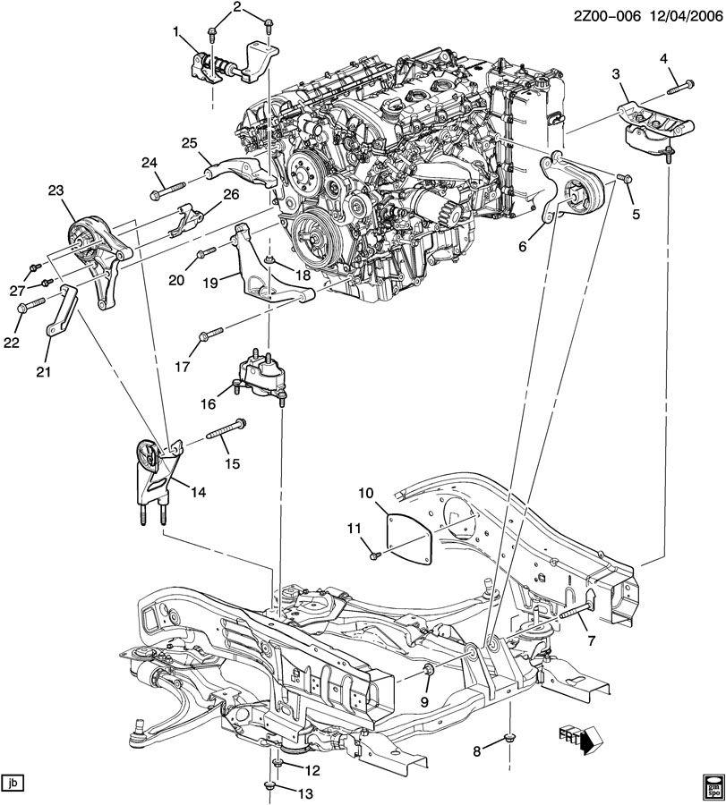 Pontiac G6 ENGINE & TRANSMISSION MOUNTING-V6
