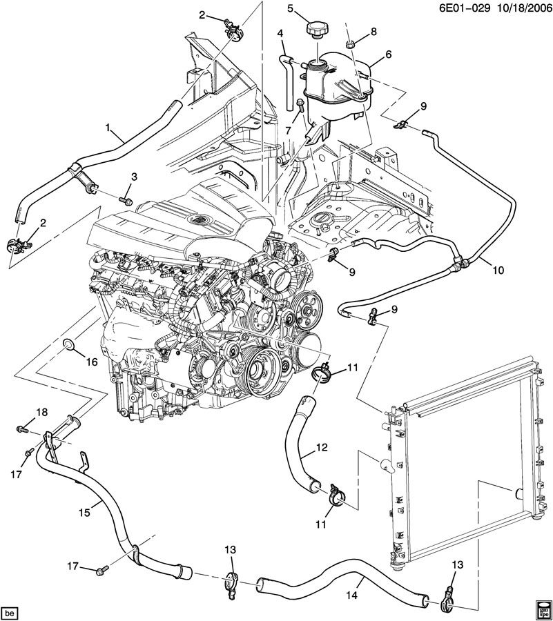 Cadillac STS Hose. Engine coolant recovery. Hose, rad
