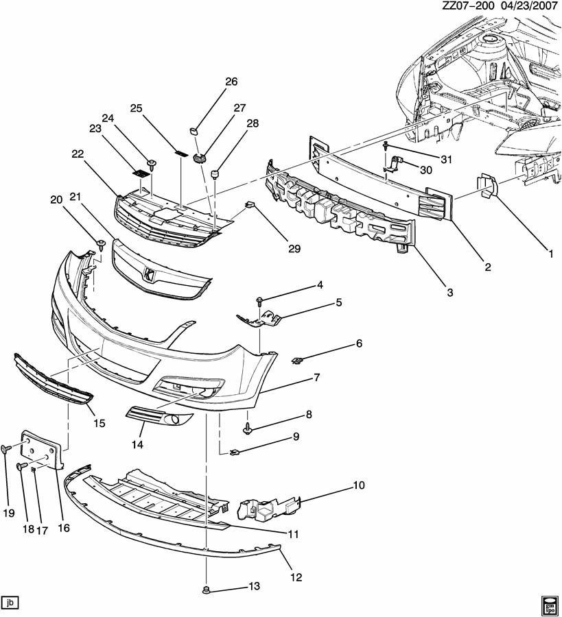 Saturn Aura Deflector. Bumper/fascia. Deflector, frt bpr