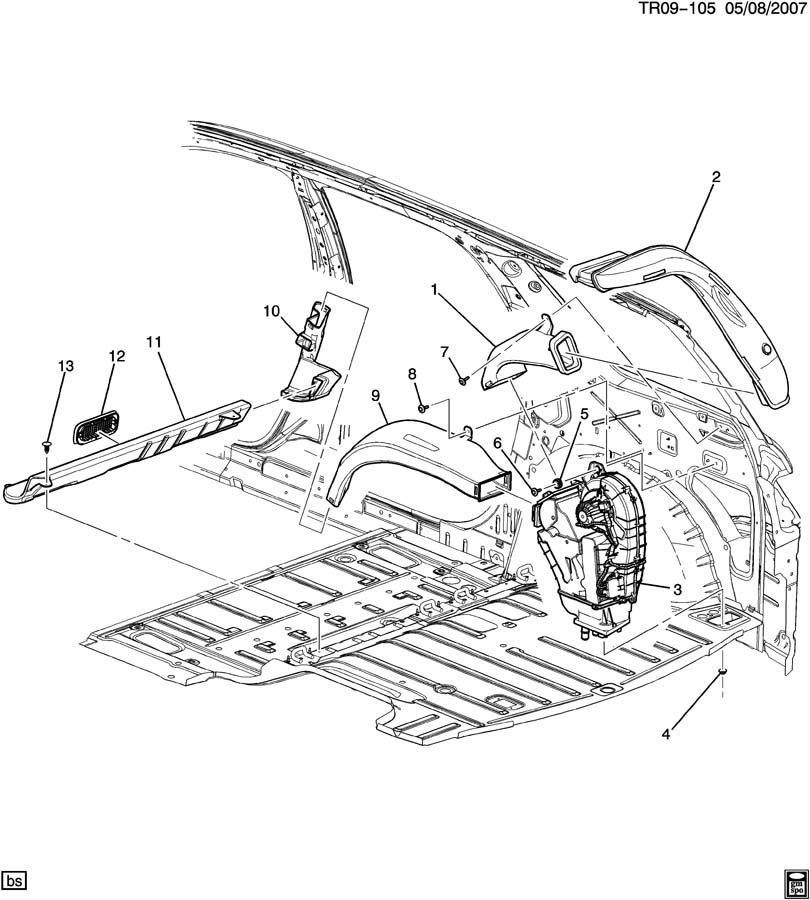 Chevrolet Traverse AIR DISTRIBUTION SYSTEM/REAR DUCTS