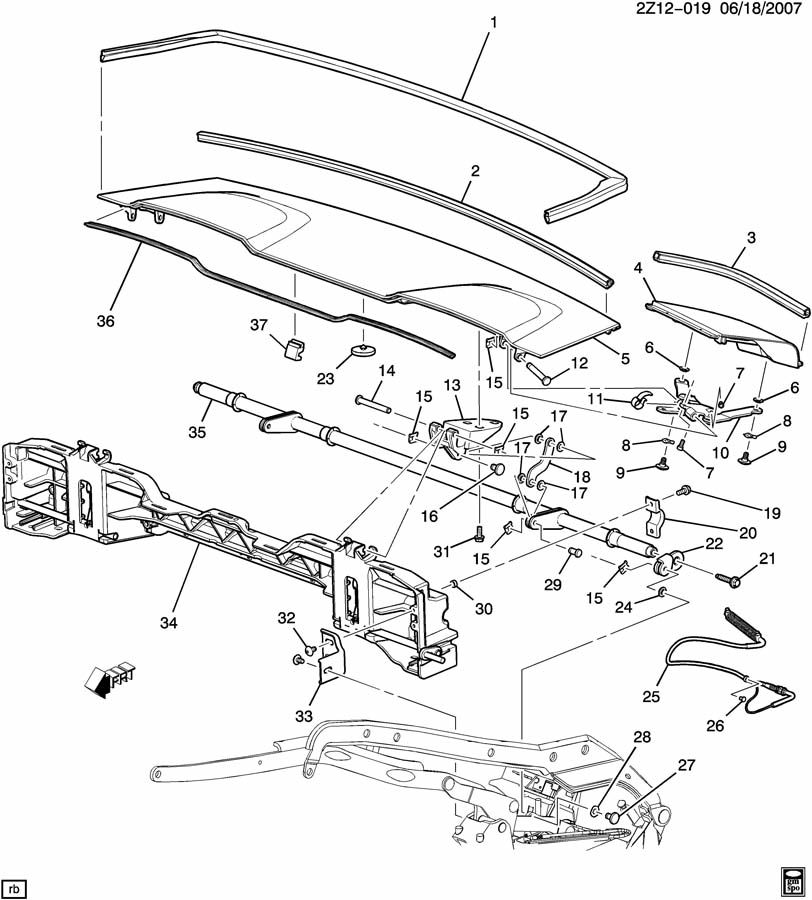 2007 Pontiac G6 Convertible Top Parts Diagram. Pontiac