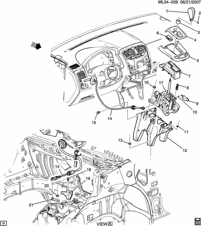 Pontiac Torrent Base. Transmission shift control lever