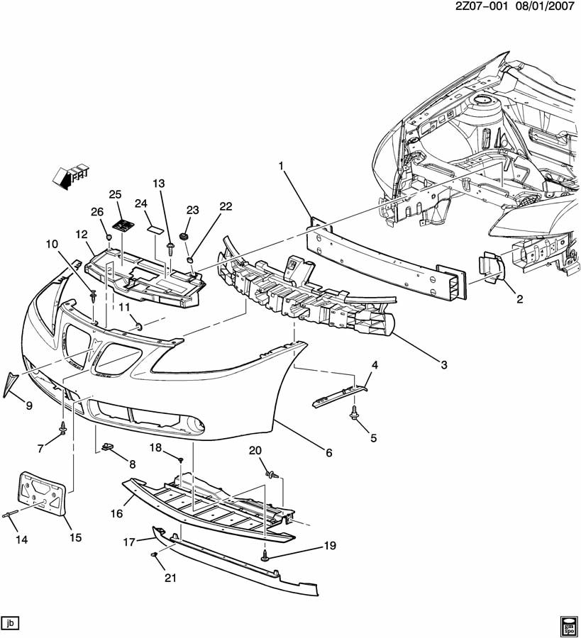 Pontiac G6 Bracket. Bumper/fascia mounting. Fasciato
