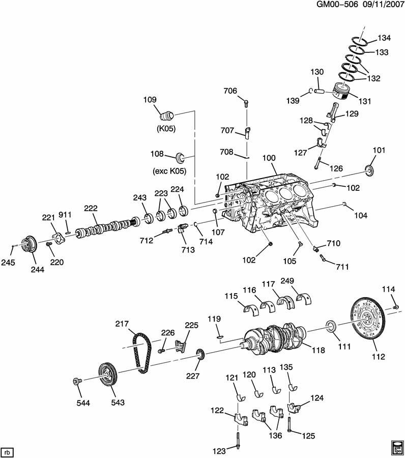 2007 Chevrolet Malibu LT 4DR Plug. Engine camshaft