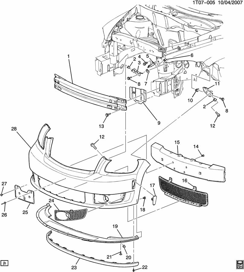 Chevrolet HHR Bracket. Bumper/fascia mounting. Bracket