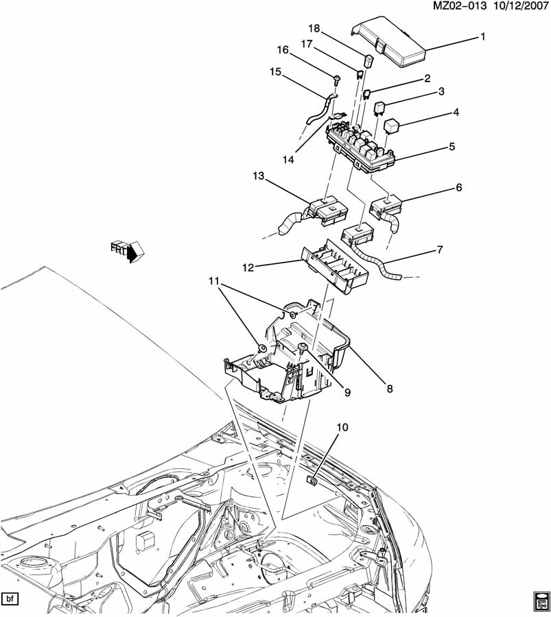 Chevrolet Malibu Block. Main wiring junction and fuse
