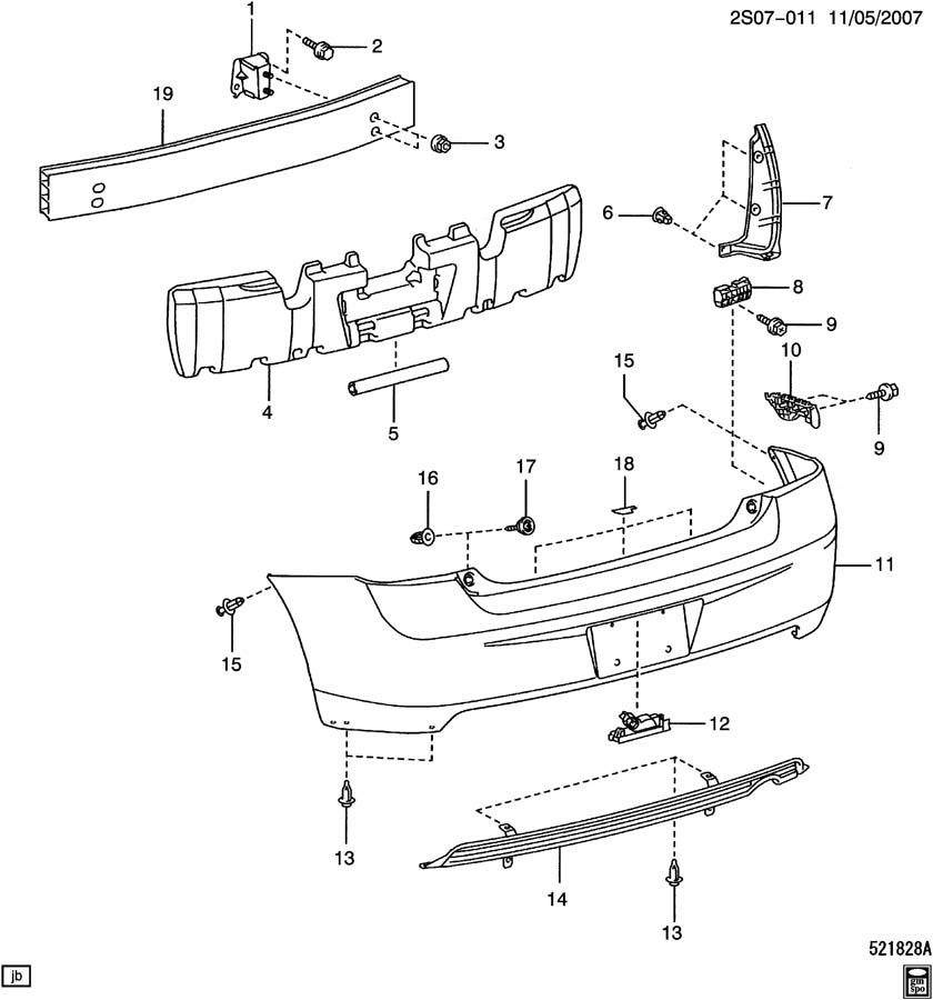 Pontiac Vibe Retainer. Front and rear bumper/fascia face