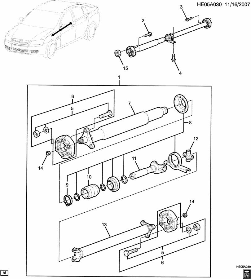 Chevrolet Camaro Bolt. Universal joint bearing and flange