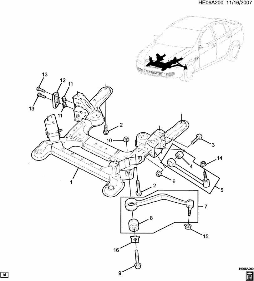 Chevrolet Camaro Engine Cradle Bolt. Suspension
