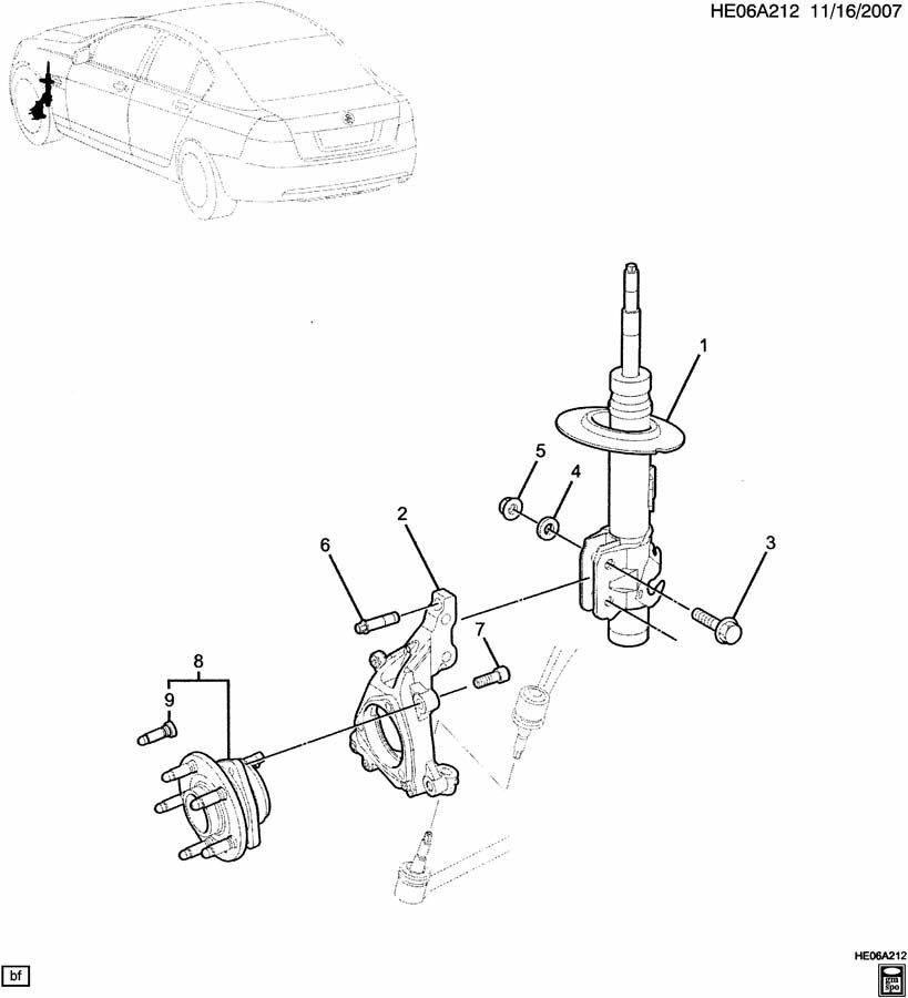 2009 Pontiac G8 Strut. Front and rear suspension. Strut