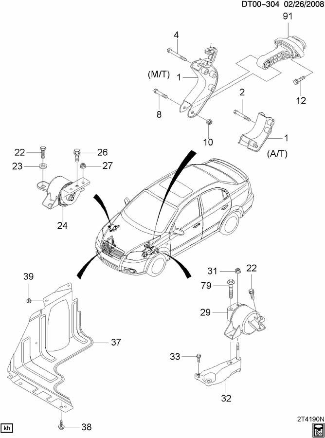 Chevrolet Aveo Nut. Chassis/engine wiring harness. Engine