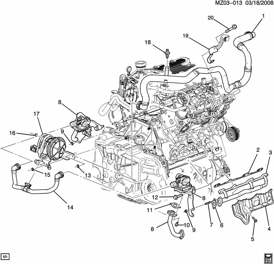 Pontiac G6 Valve. Emission control system. Valve, secd air