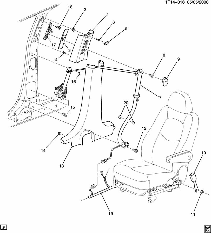 Chevrolet HHR SEAT BELTS/PASSENGER