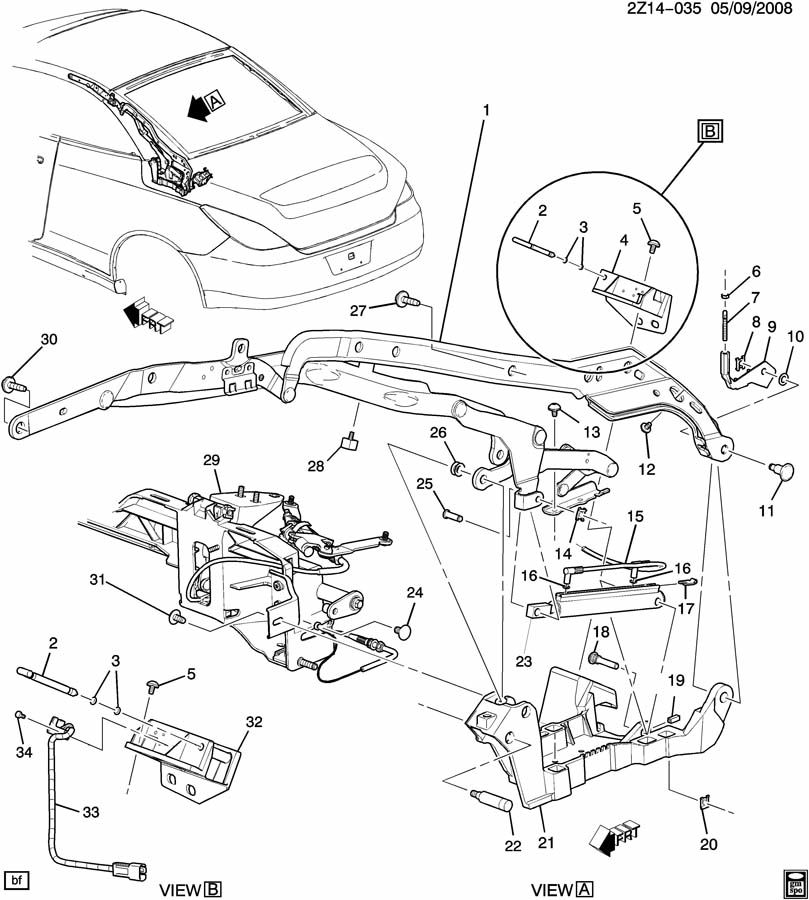 Pontiac G6 FOLDING TOP MECHANISM/FRONT LINKAGE