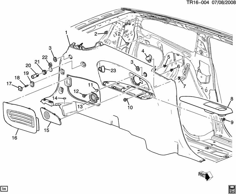 Chevrolet Traverse Speaker. Radio auxiliary speakers