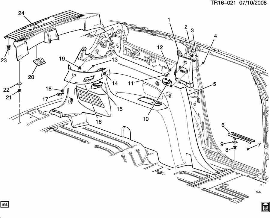 2009 Buick Enclave TRIM/INTERIOR-BODY SIDE REAR