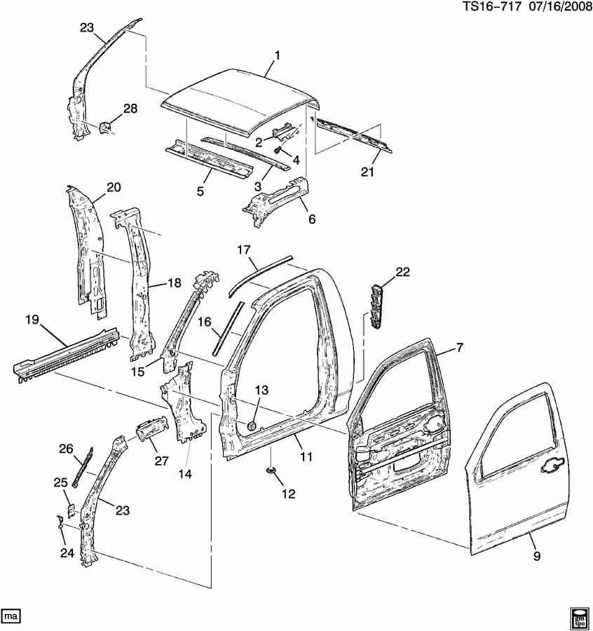 Chevrolet COLORADO Frame. Side door opening. Frame, s/d