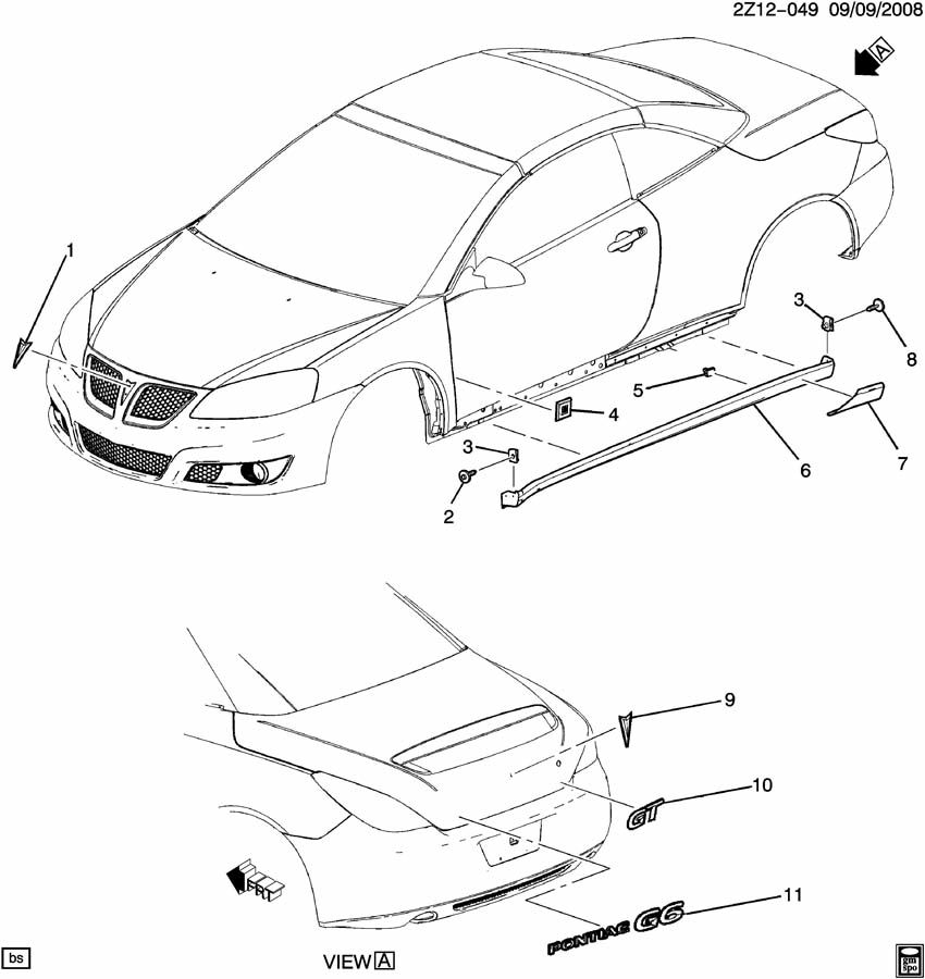 Pontiac G6 Protector. Rocker panel. Protector, rkr pnl rr