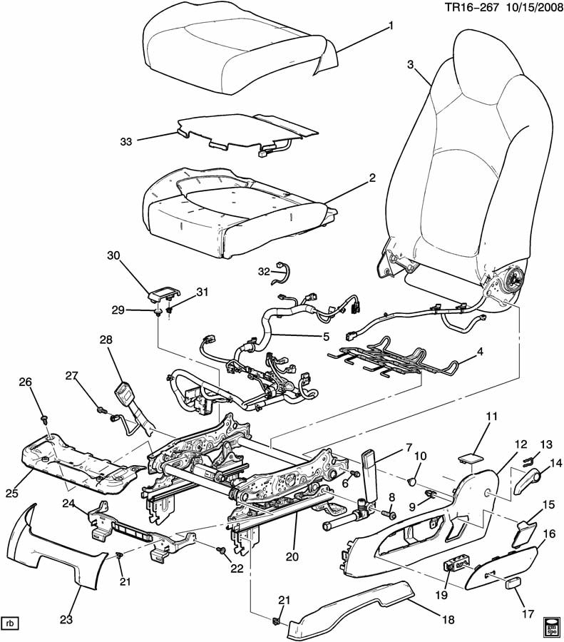Buick Enclave Cover. Seat adjuster/recliner. Tension