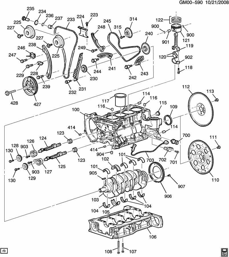 ENGINE ASM-2.2L L4 PART 1 CYLINDER BLOCK & INTERNAL PARTS