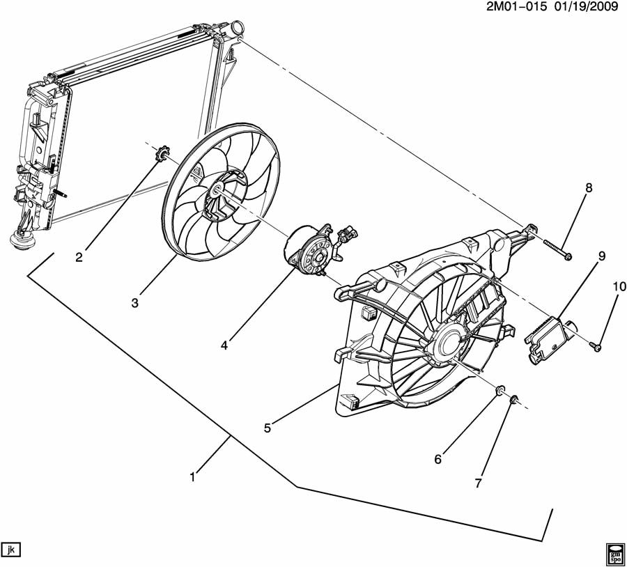 Pontiac Solstice Shroud. Radiator fan shroud. Shroud, eng