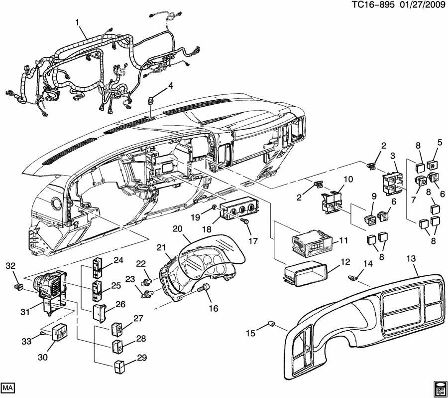 2001 Chevrolet Silverado Clip. Instrument cluster