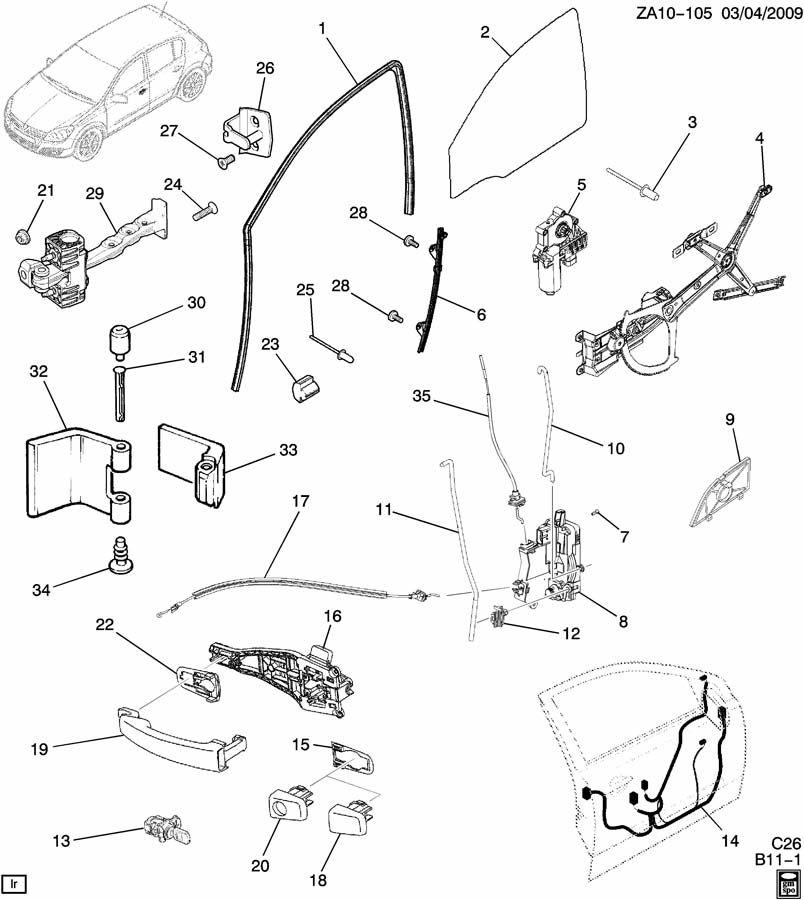 2008 Saturn Astra Door Wiring Harness. SEDAN. RCONDDULAMP