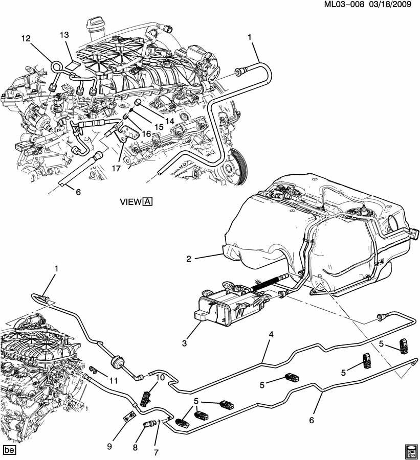 Chevrolet Equinox Hose. Evaporation emission system (fuel