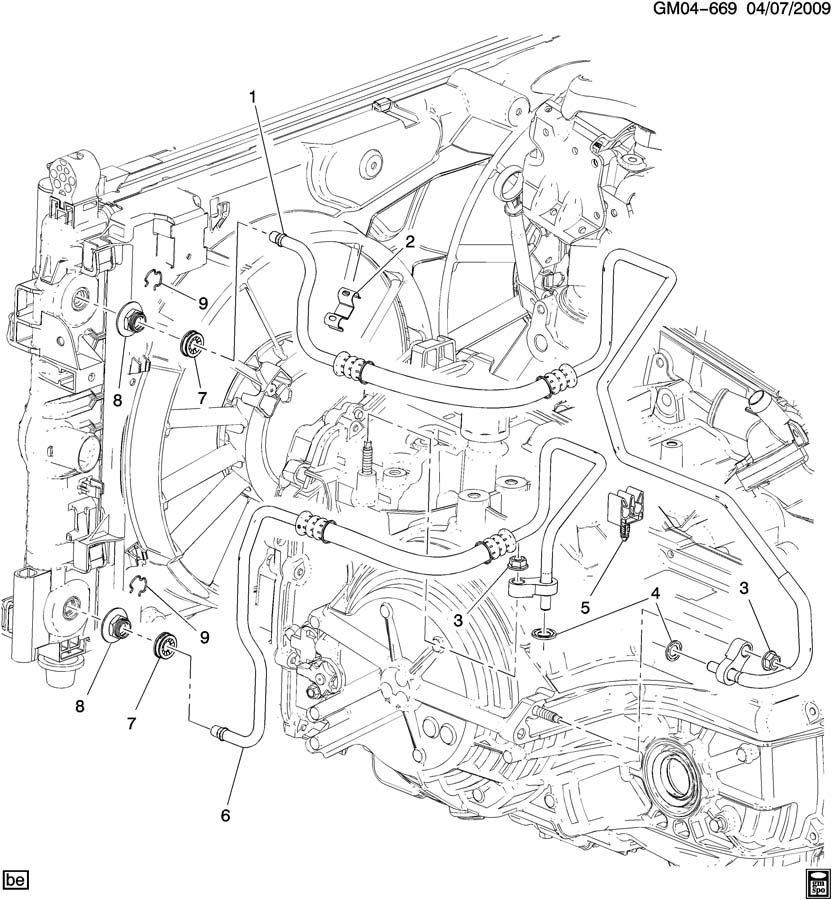 Chevrolet Impala Cap. Engine oil cooler. Transmission oil